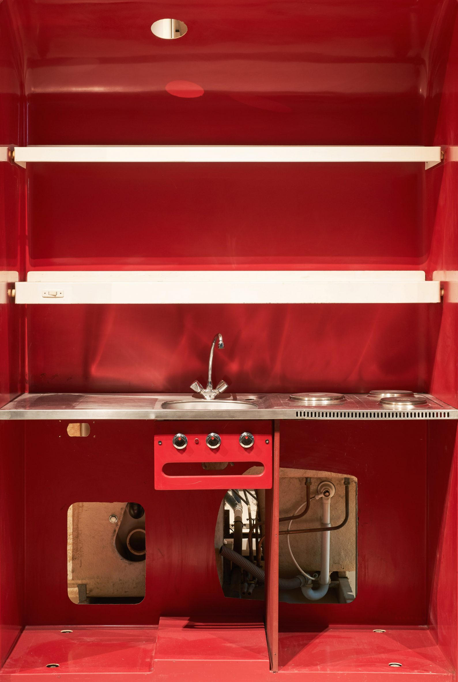 A red prefabricated kitchen