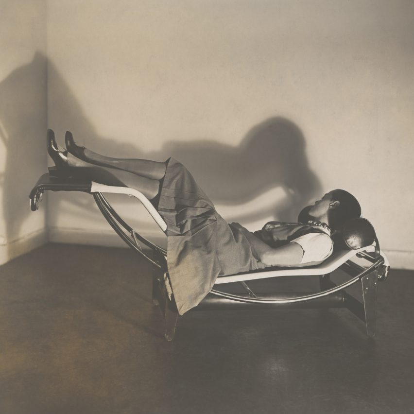 Charlotte Perriand reclining on a chaise longue