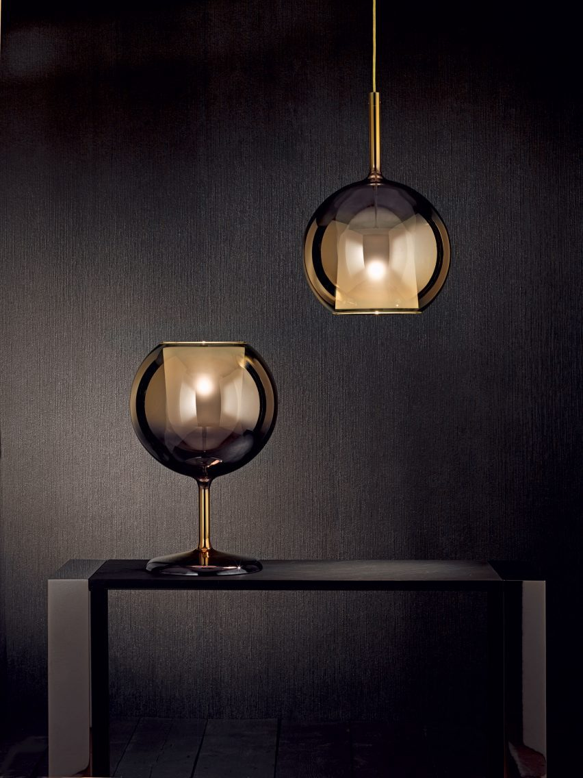 A light with a glass sphere