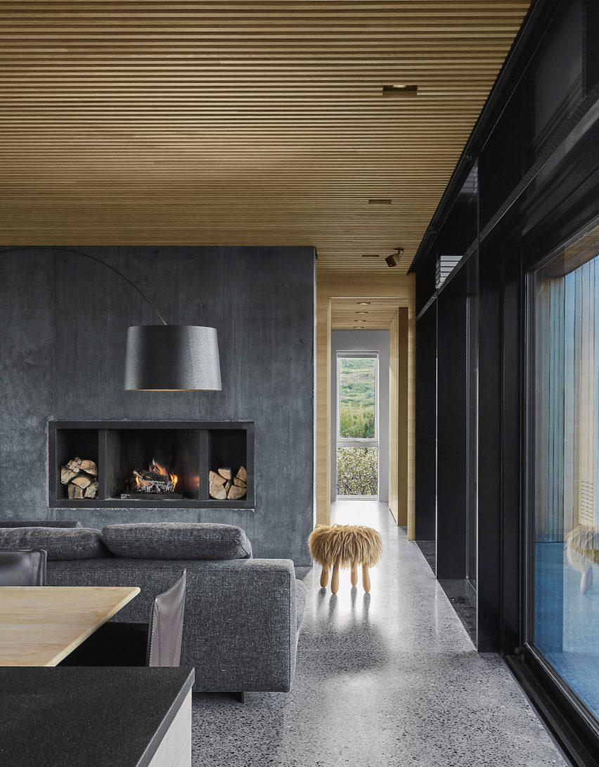 concrete and terrazzo living room by Gláma Kím