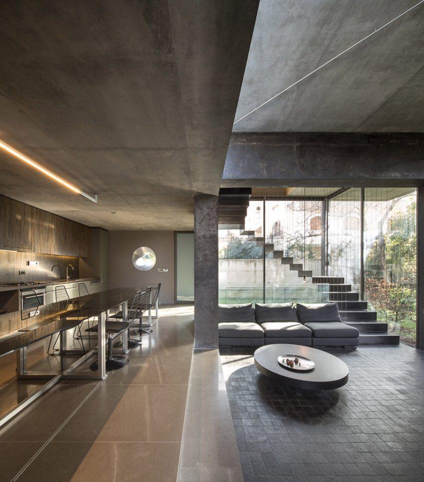 Sunken living space in a home in greece