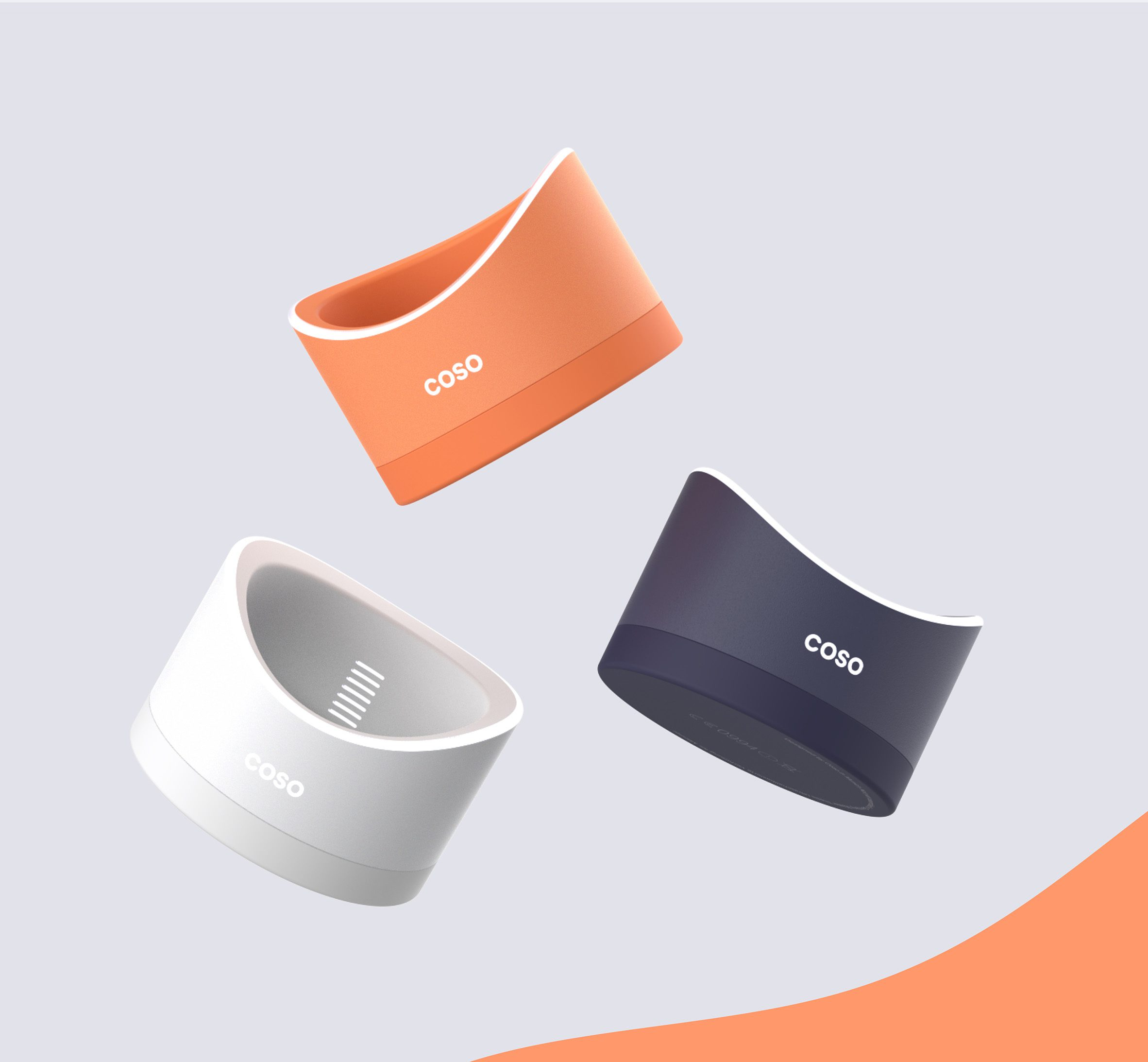 Coso contraceptive device rendered in shades of dark blue-grey, bright coral and white