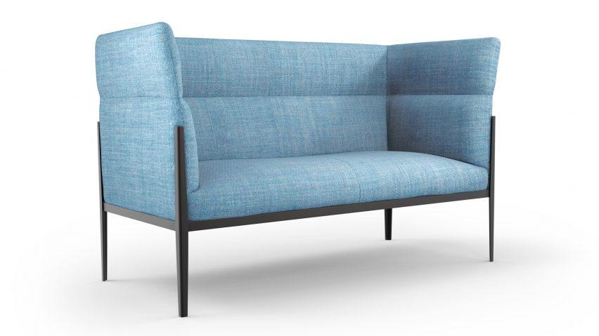 Голубой диван Cotone Slim с высокой спинкой и черной рамой