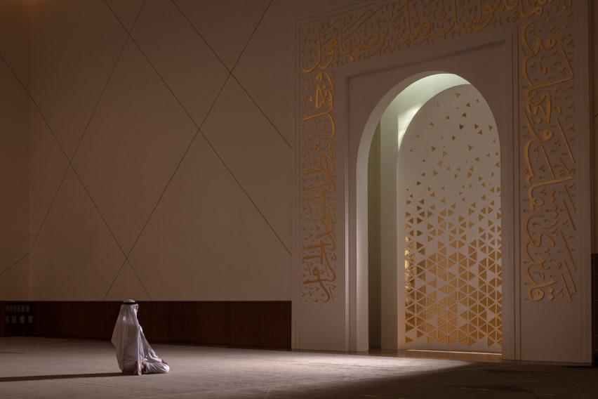 Main prayer room in Dubai mosque