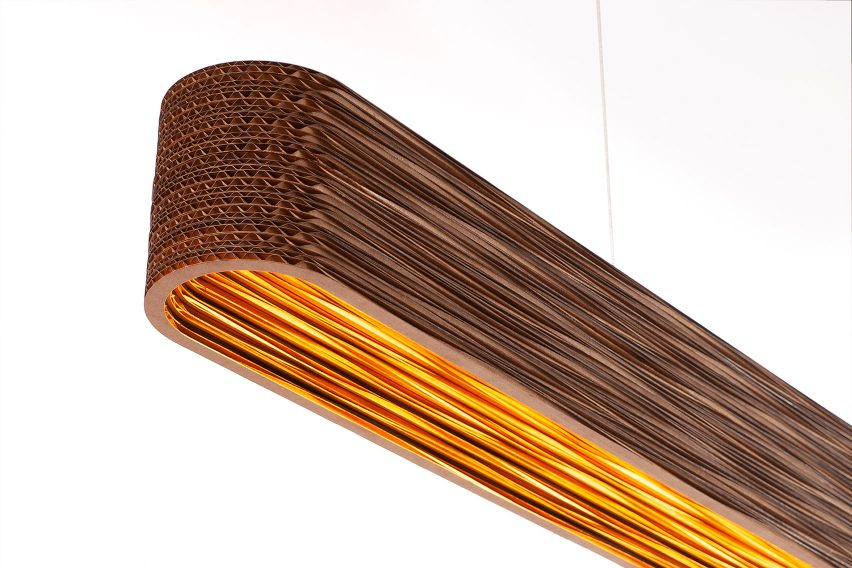 Dash Linear lighting by Graypants in close-up showing the layers of cardboard