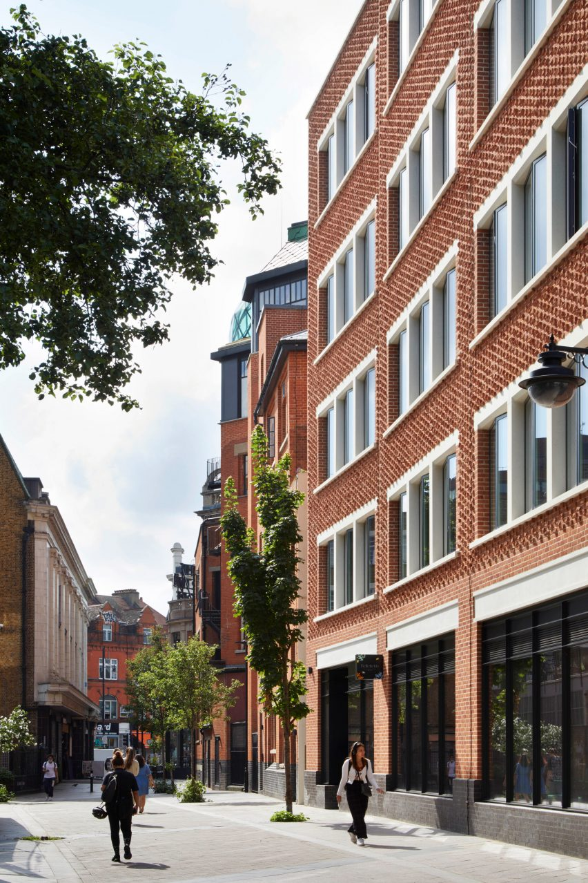 Brick facade and entrance to The Department Store Studios by Squire and Partners