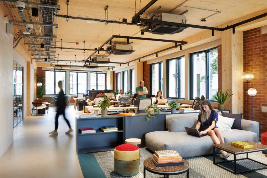 Work and lounge spaces in The Department Store Studios by Squire and Partners
