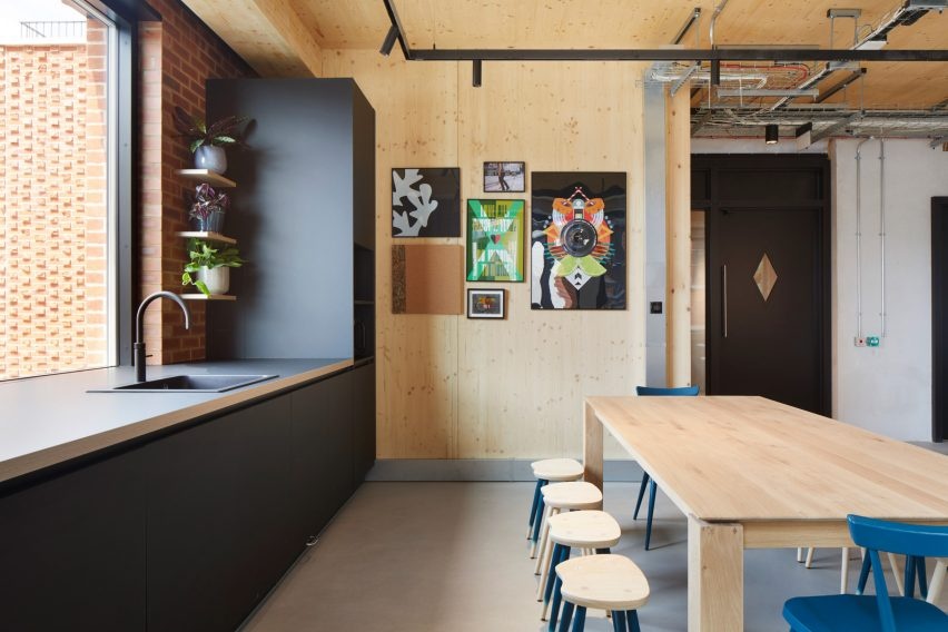 Kitchen in The Department Store Studios by Squire and Partners