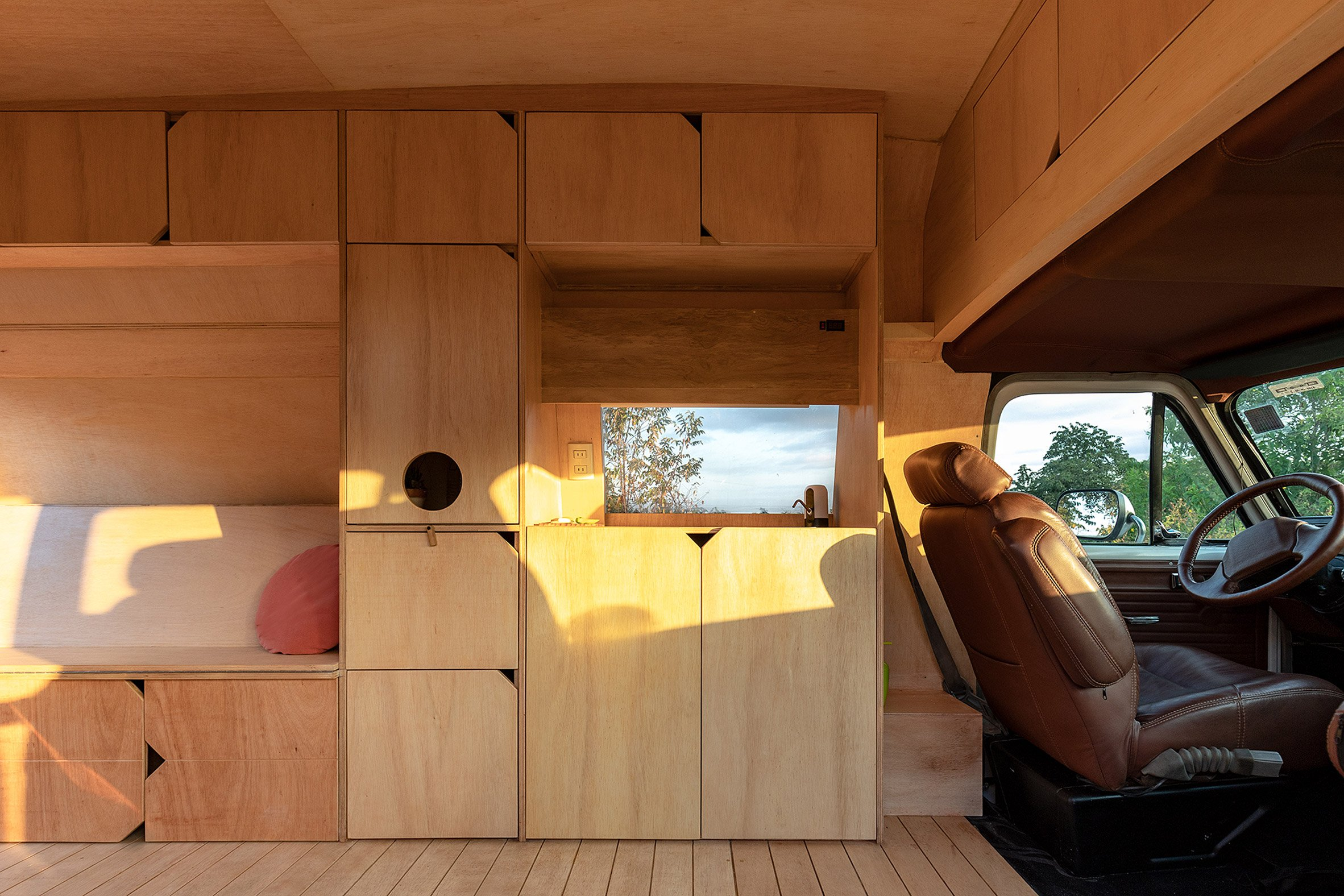 Plywood boxes and storage units inside Dodo Van