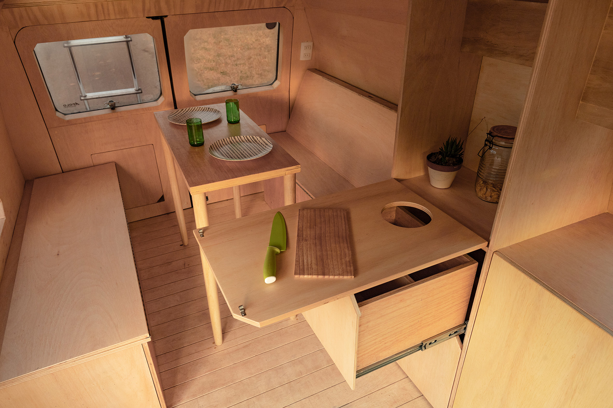 Wooden counter tops inside the caravan