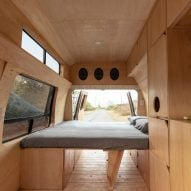 Plywood furniture turns 1990s van into mobile home for Ecuadorian couple