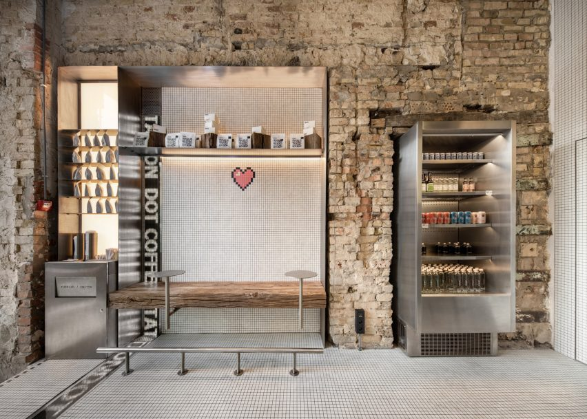 Stainless steel accents feature in the coffee bar