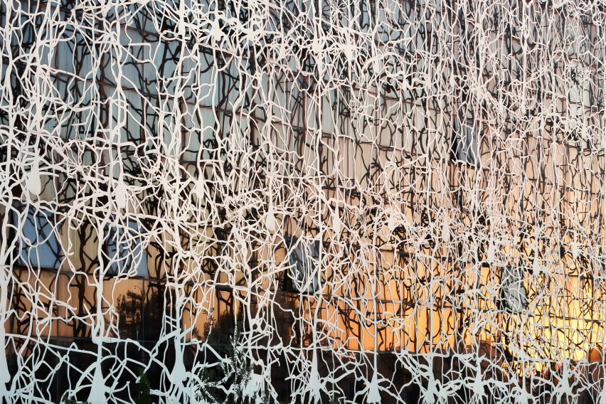 A facade covered in aluminium screens