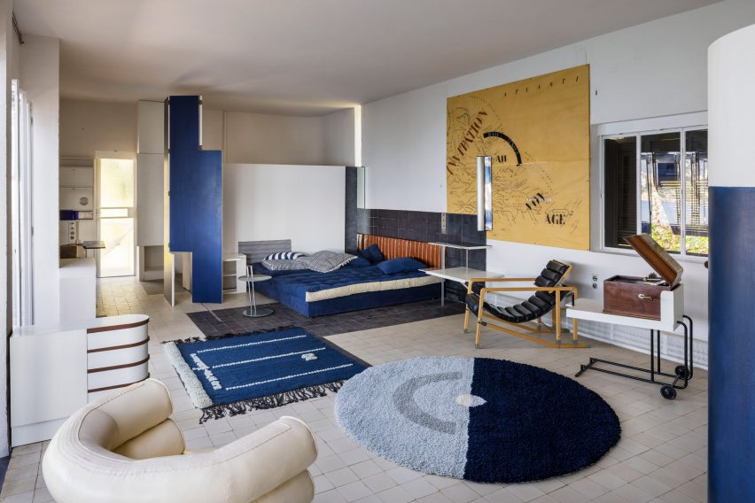 Interior of modernist house in France