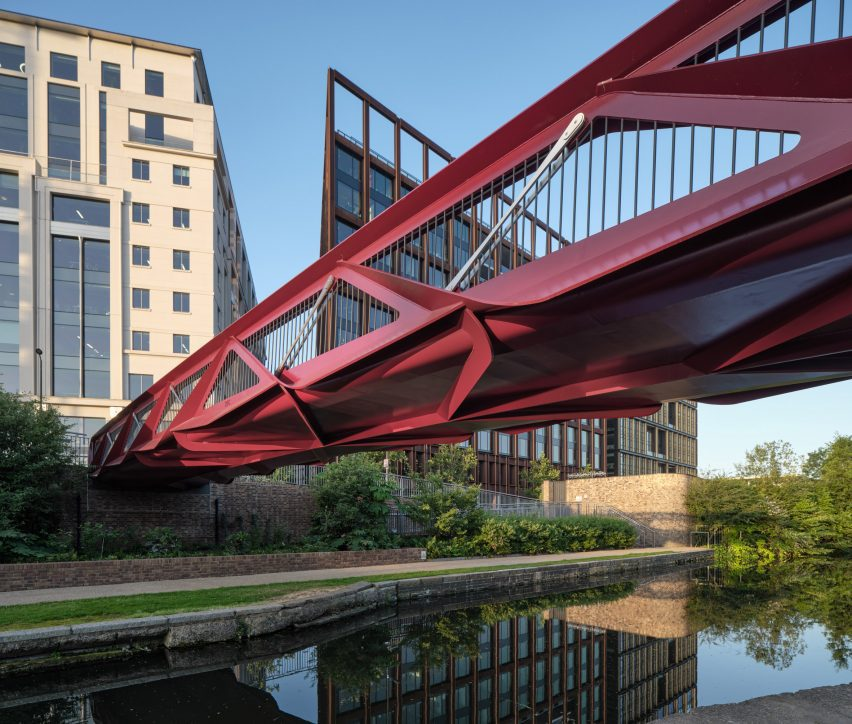 View across water of Esperance Bridge by Moxon Architects and Arup