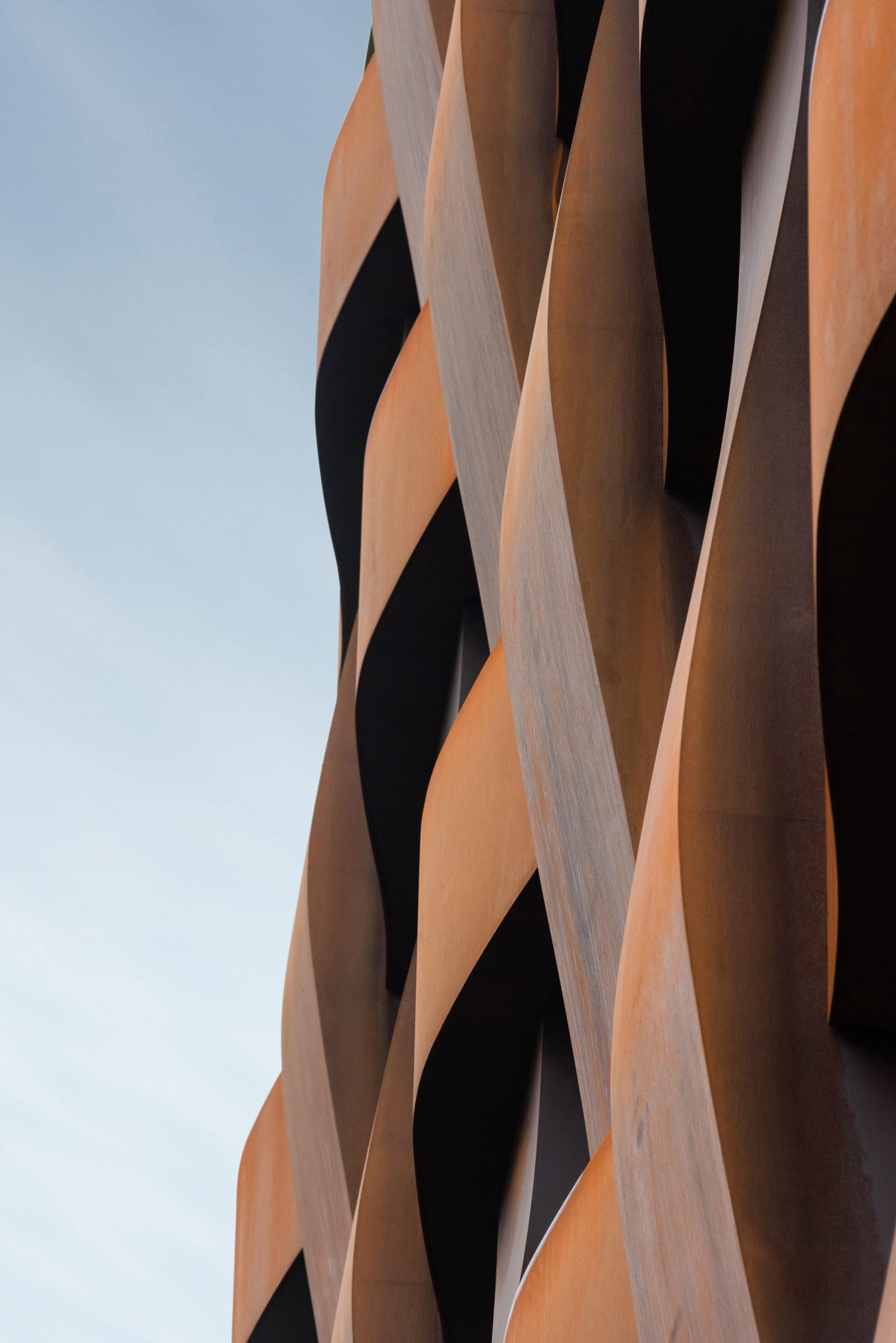 Close up of Corten steel panels in basket-weave effect