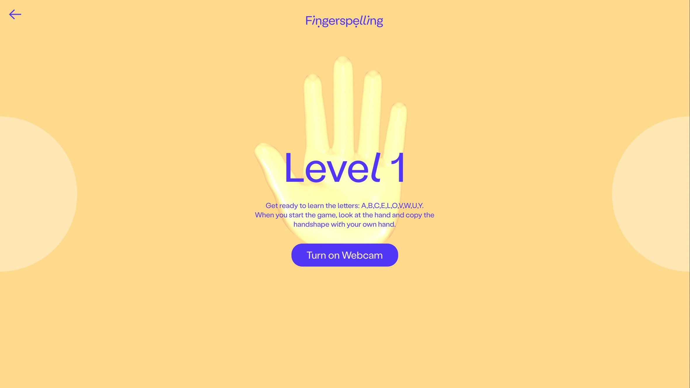 Fingerspelling.xyz level-one home screen giving instructions to look at the hand on screen and copy its hand shape