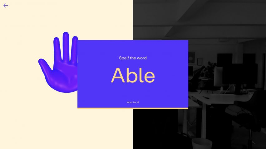 A level one screen tells the user they will be learning to spell the word 'able'
