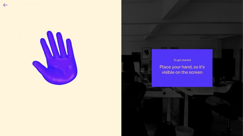 Screen tells the user to place their hand where it is visible in their webcam