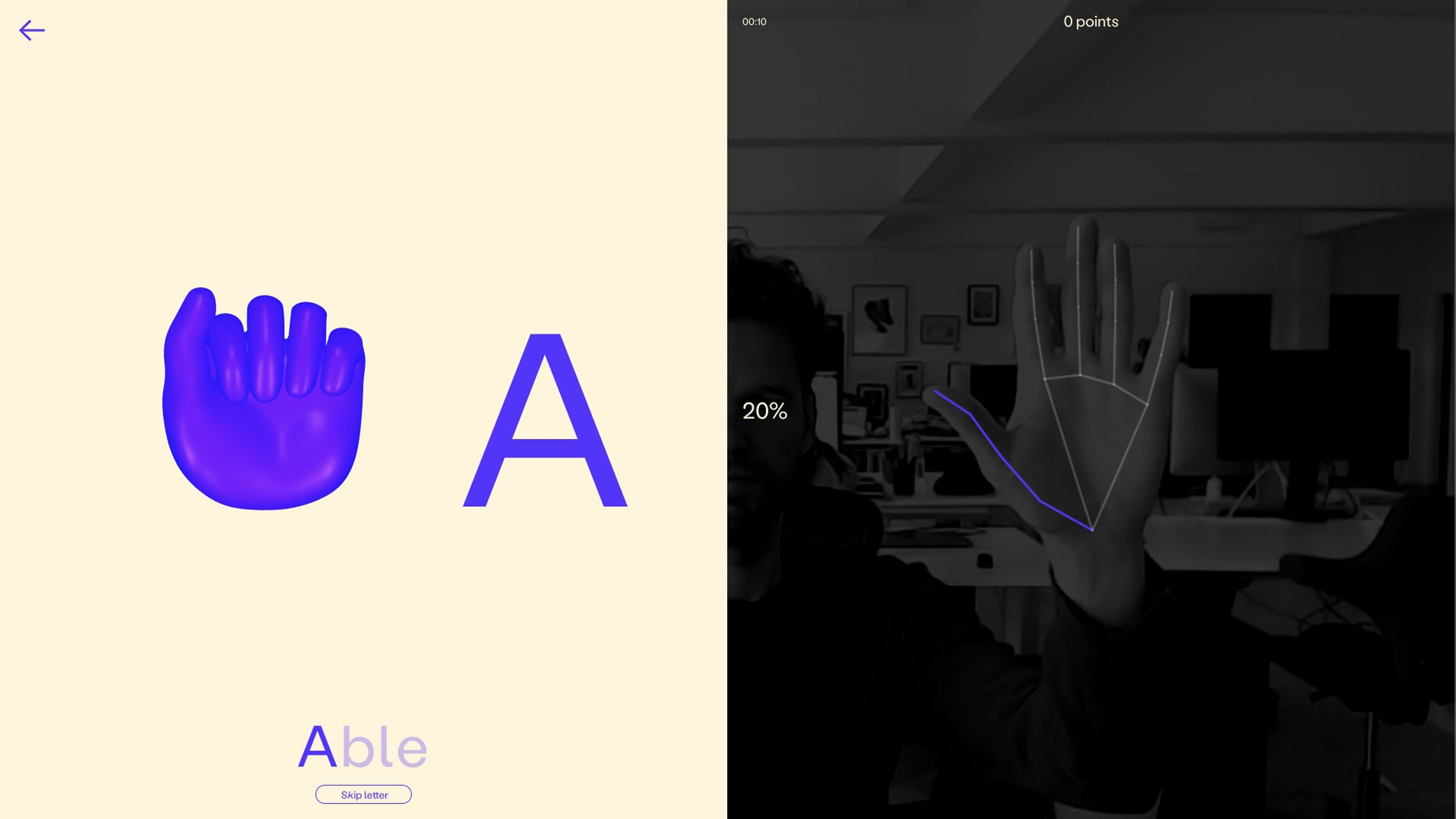 FingerspA splitscreen shows the letter A and a 3D hand in a fist salute shape on the left side and webcam view of a user's flat palm on the right