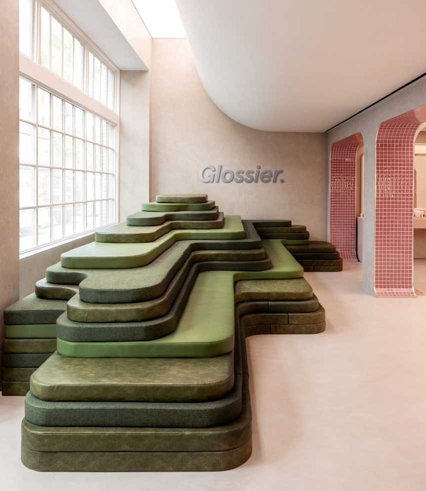 Seating area designed to look like terraced landscape