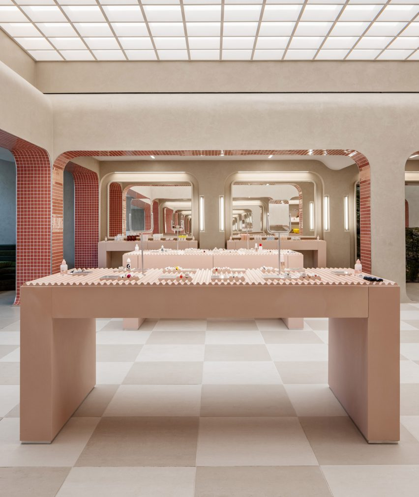 Pale pink counters display products