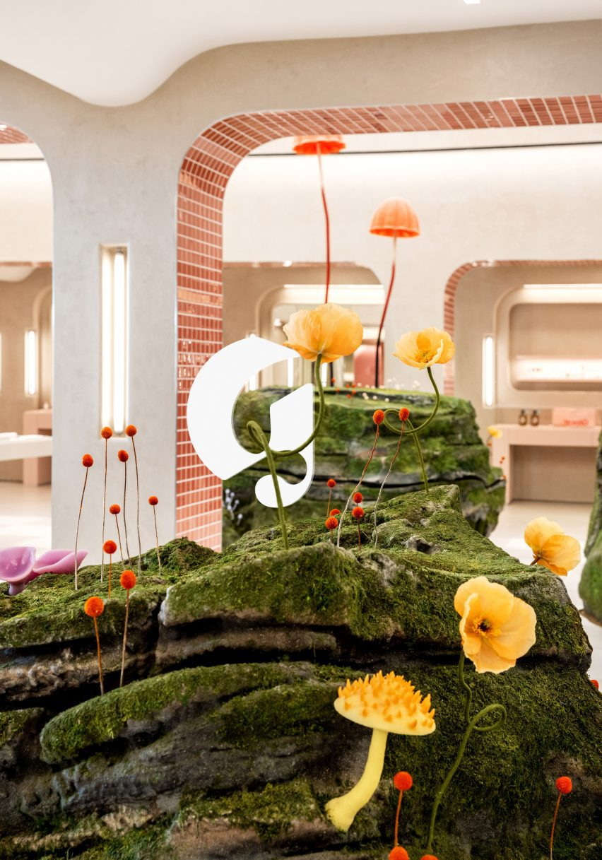 Moss-covered mound in the Glossier store