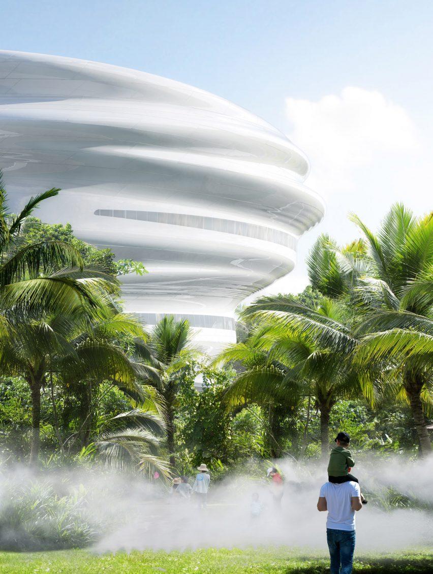A white cloud-like museum