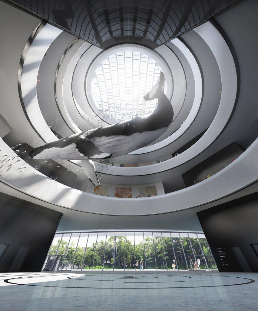 A visual of a museum atrium