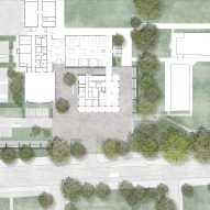Site plan for Homerton College's new entrance building by Alison Brooks Architects