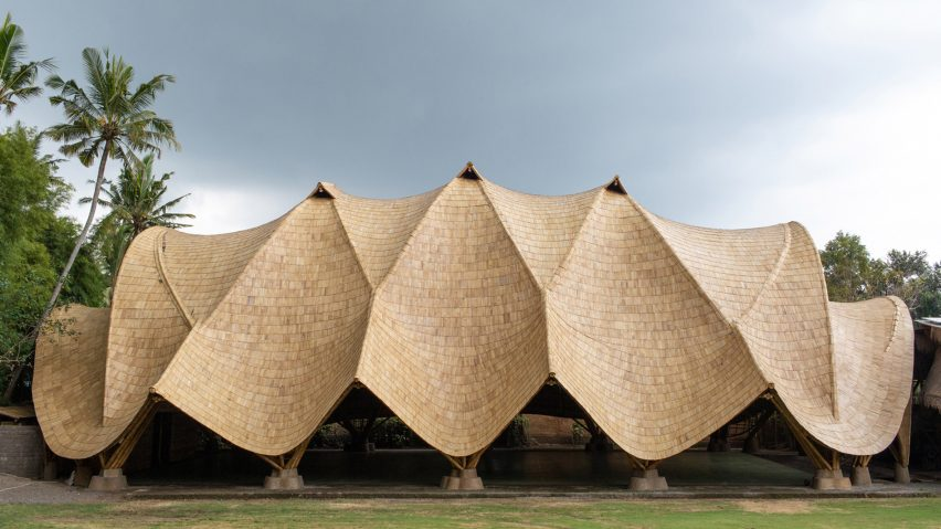 The Arc with bamboo roof by Ibuku