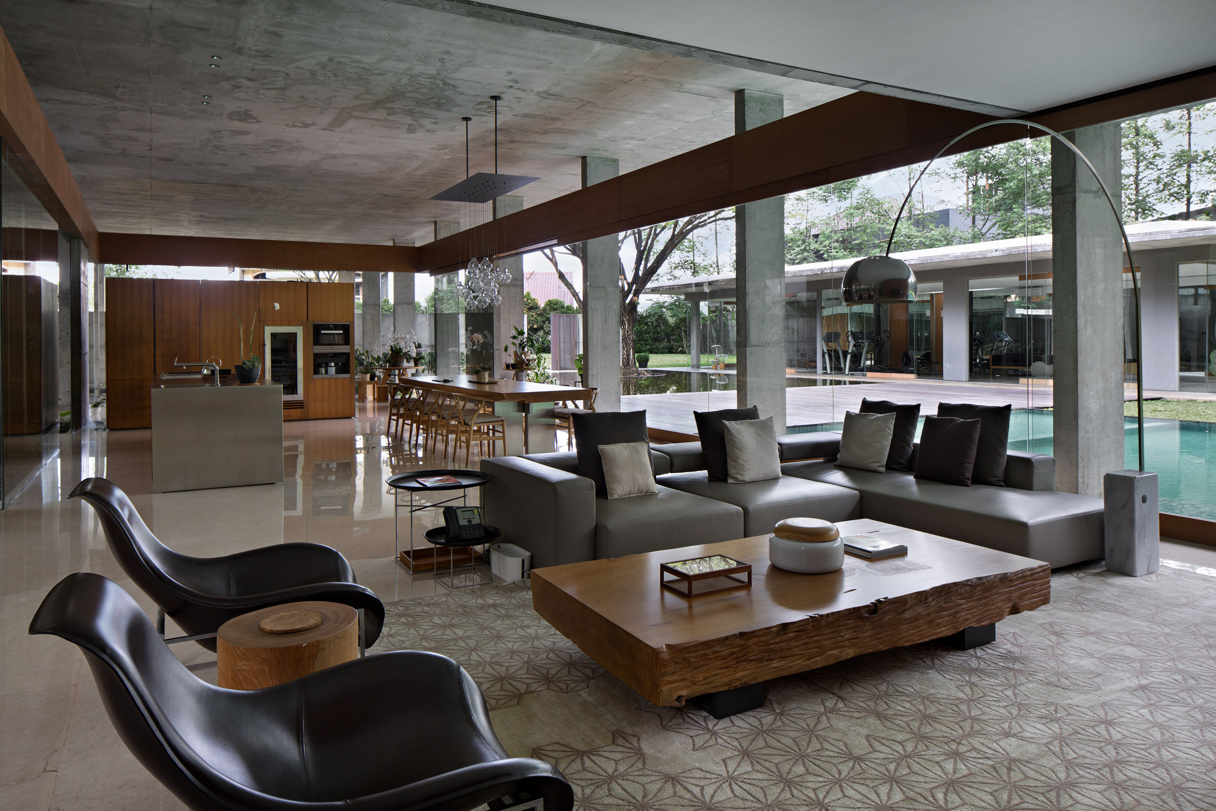 Interior of concrete house