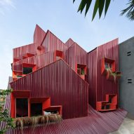 Ismail Solehudin Architecture builds bright red Indonesian boarding house