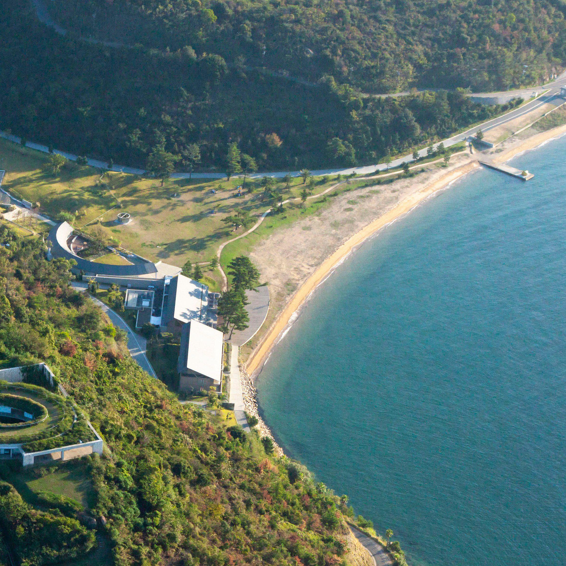 An aerial view of Seto Inland Sea and Naoshima Island