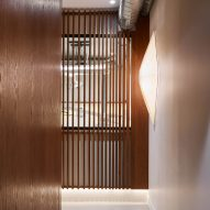 A slatted wooden panel