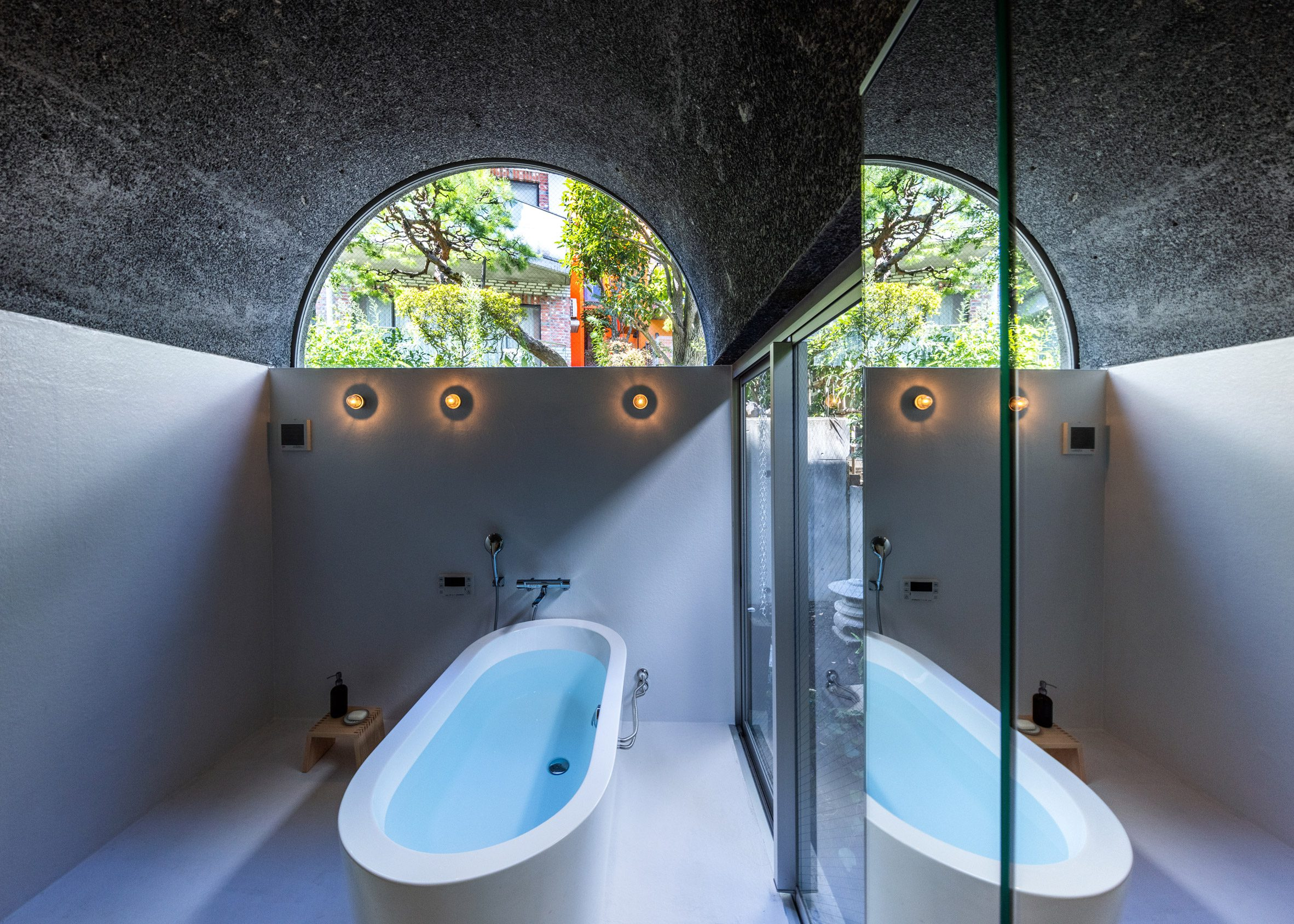 Bathroom with vaulted roof
