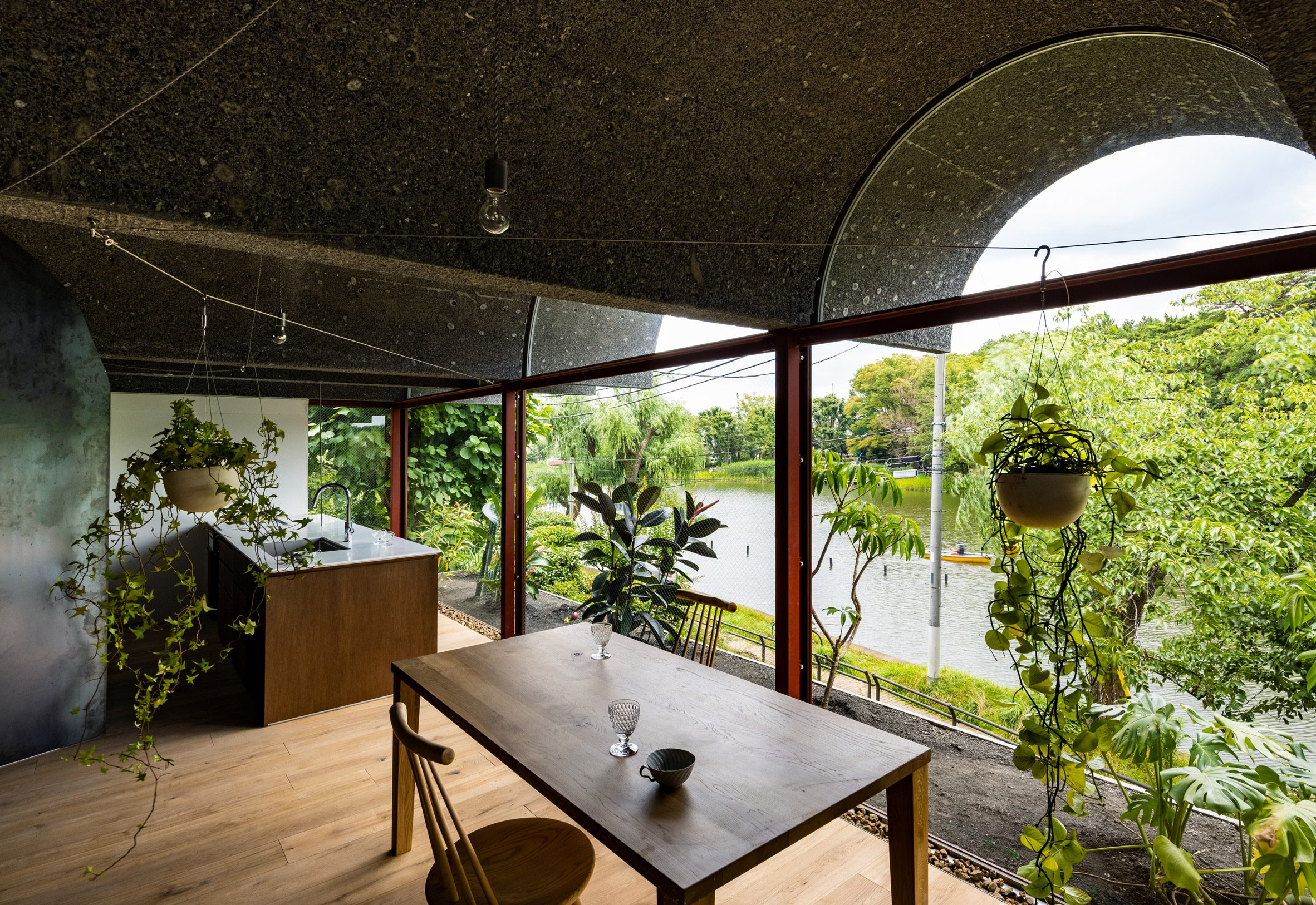 Living spaces with large windows