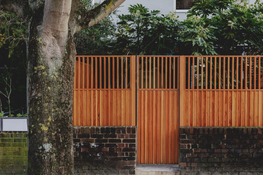 Wooden front gate of London townhouse