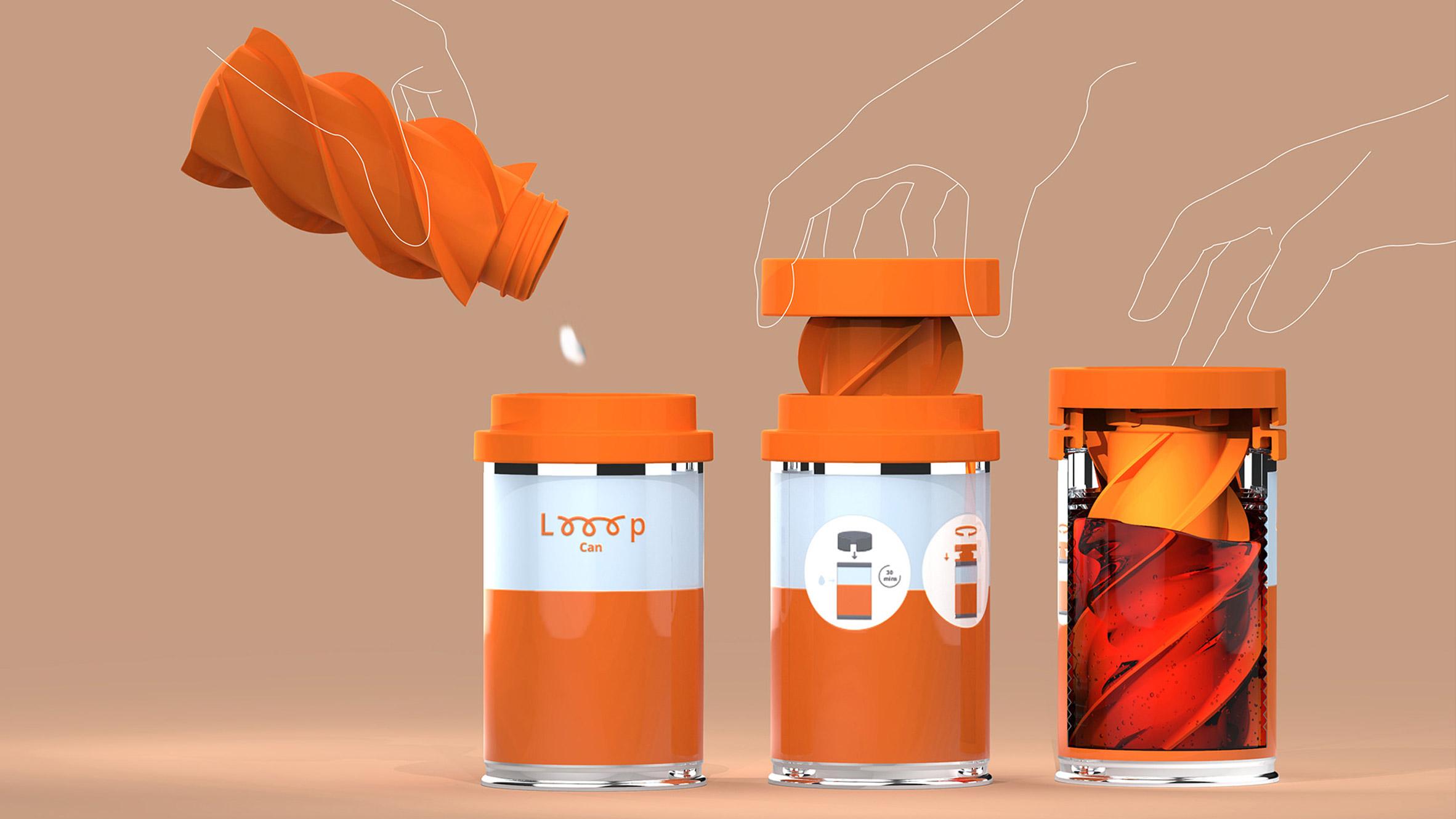 Three orange Looop cans washing sanitary pads