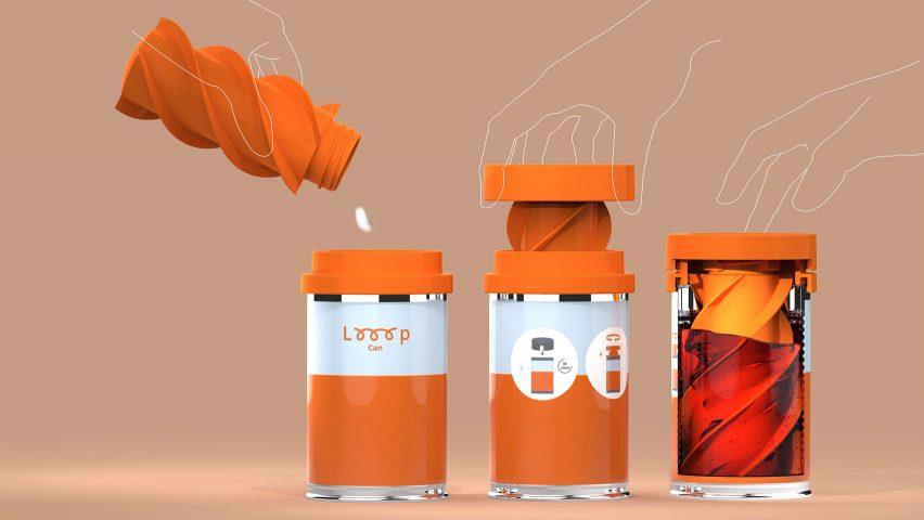 Three orange Looop Cans being used to clean sanitary pads