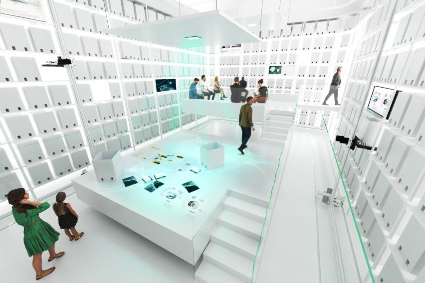 Rendering of a white robotic archive in the MAE Museum