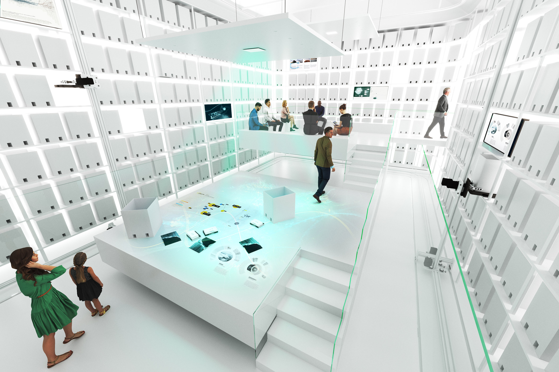 Rendering of white robotic archive room in the MAE Museum
