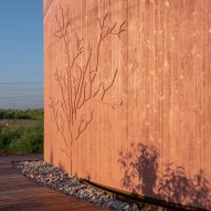 Pink concrete facade