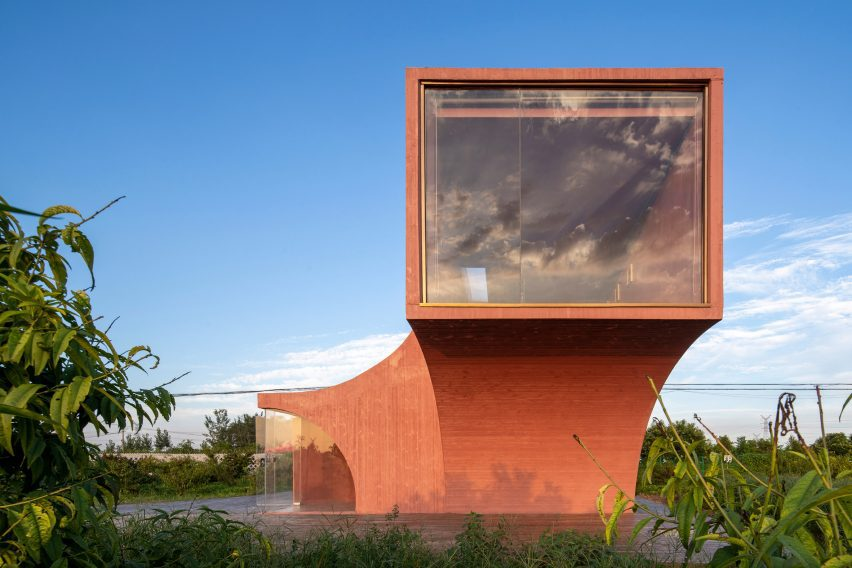 A pink concrete community centre