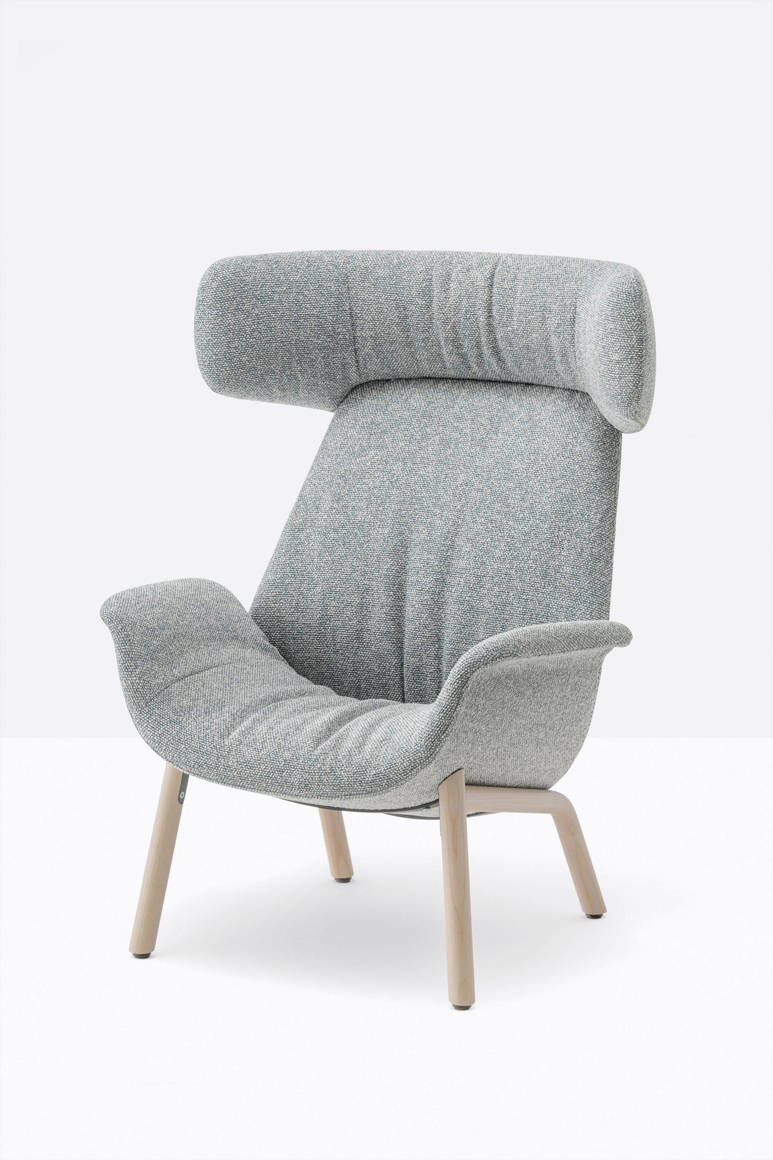 A photograph of a grey armchair