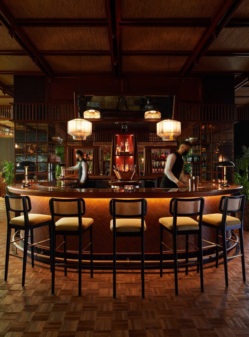 Colonial Japanese counter with cane chairs in Mimi Kakushi restaurant