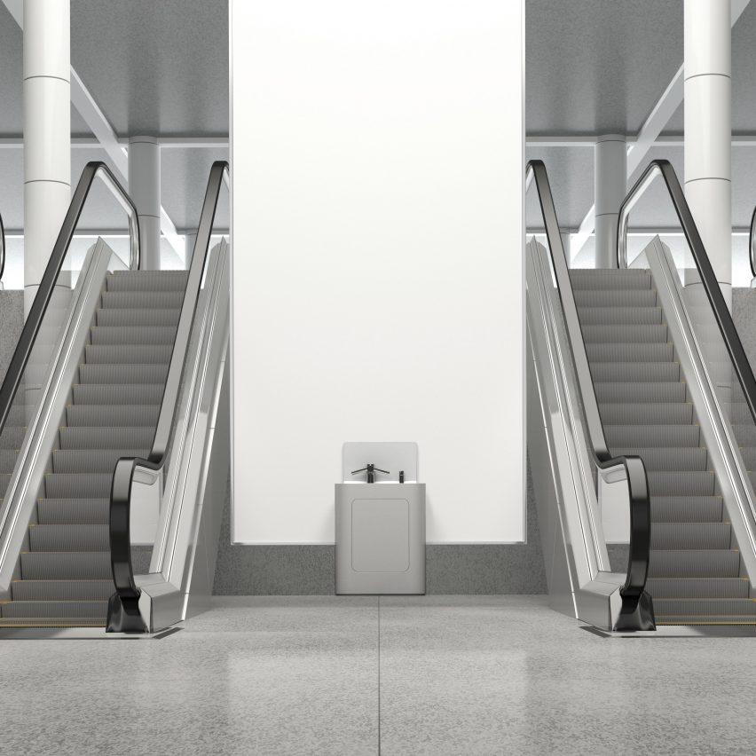 A photograph of a wash pod besides escalators