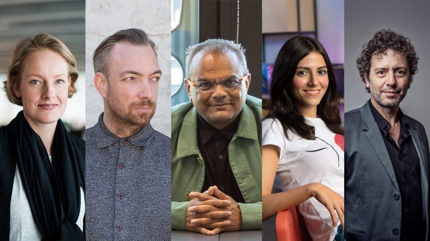 Portraits of Redesign the World judges: Alexandra Hagen, Liam Young, Hanif Kara, Belinda Ercan and Marcus Fairs