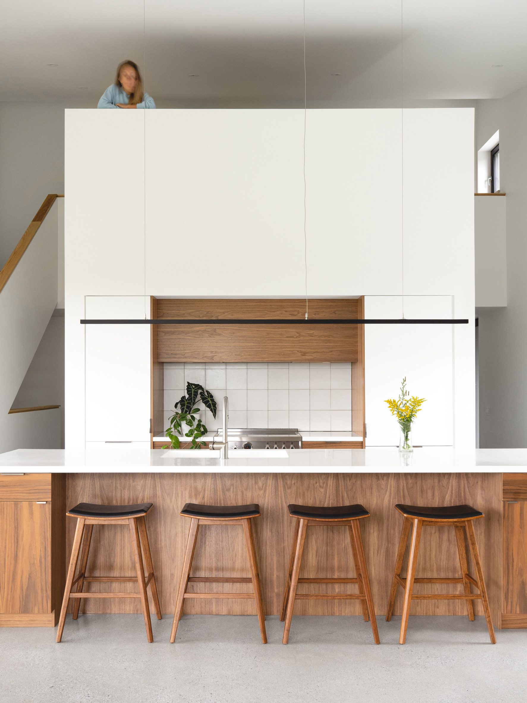 Kitchen with mezzanine space above