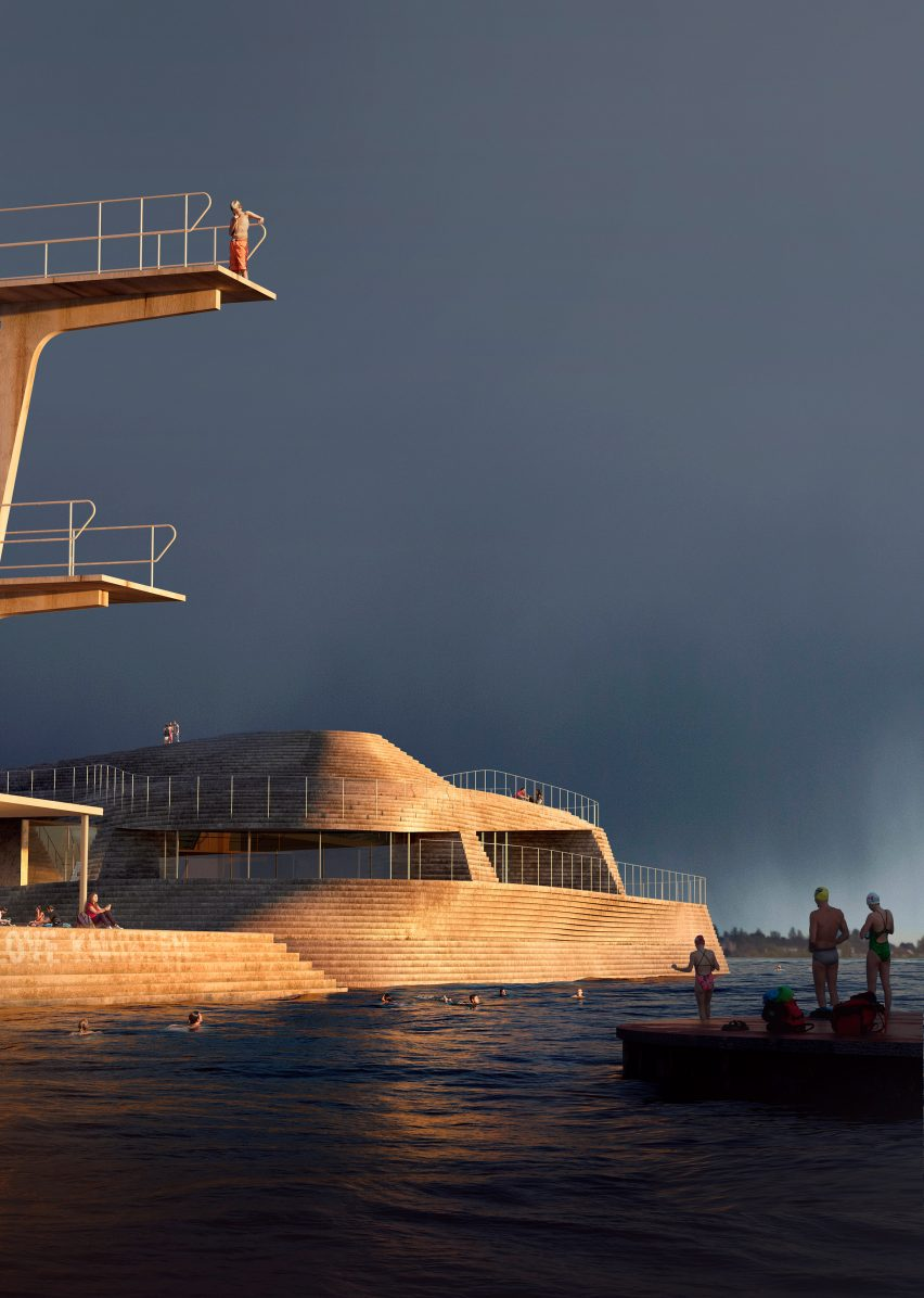 Diving platform and facilities at the new Knubben harbour bath at sunset